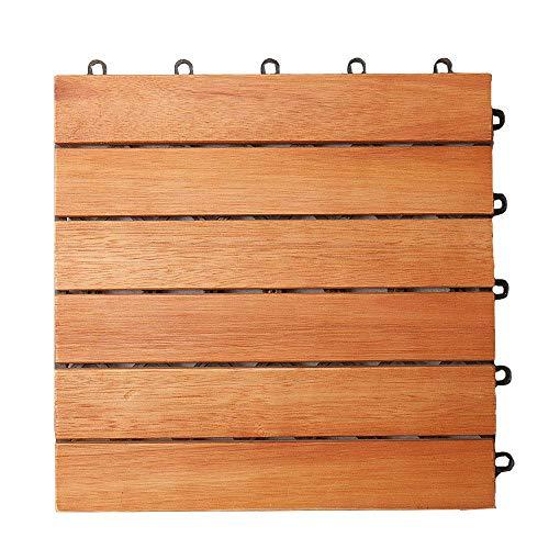 Deuba - Dalle de jardin en bois d'eucalyptus certifié FSC 30 x 30 cm • 11 dalles clipsables soit 1m² - Terrasse balcon jardin piscine