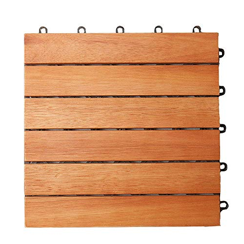 Deuba 33x Holzfliesen Eukalyptus FSC®-zertifiziertes Eukalyptusholz 30x30 cm Fliese Stecksystem Mosaik Zuschneidbar Terrasse Balkon