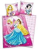 Herding 447905050 Disney's Princess - Juego de Cama Infantil (Funda de Almohada de 80 x 80 cm y Funda de edredón de 135 x 200 cm, 100% algodón y Lino), diseño de Princesas Disney
