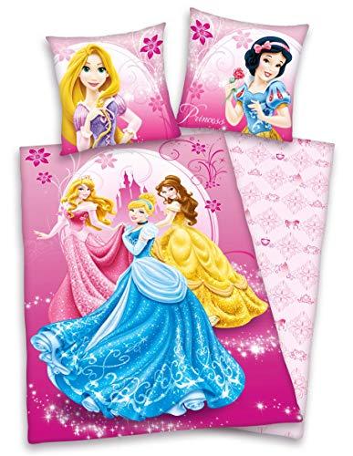Disney's Princess Prinzessinen Bettwäsche, 80 x 80 cm 135 x 200 cm, 100 % Baumwolle Renforce mit Reißverschluss