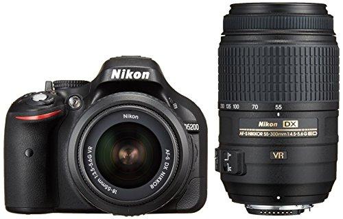 Nikon デジタル一眼レフカメラ D5200 ダブルズームキット AF-S DX NIKKOR 18-55mm f 3.5-5.6G VR  AF-S DX NIKKOR 55-300mm f 4.5-5.6G ED VR ブラック D5200WZBK