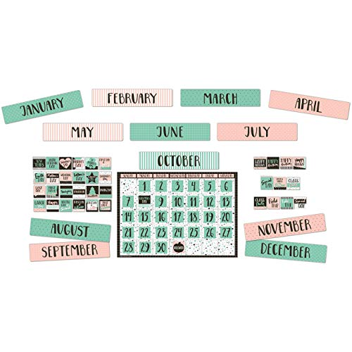 Eureka Pink and Green Confetti Pattern Classroom Calendar Bulletin Board Set and Classroom Decorations for Teachers, 83pcs