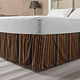 Ambesonne Striped Bedskirt, Colorful Vertical Thin and Bold Stripes in Retro Style Geometrical Abstract Design, Bedroom Decor Wrap Around Elastic Bed Skirt Gathered Design, Queen, Orange Black