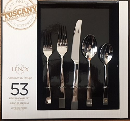 Lenox Tuscany Classics 53-piece Stainless Flatware Set Includes: eight 5-piece place settings, extra 8 teaspoons and 5-piece hostess set
