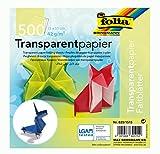 folia 825/1515 - Transparentpapier - Faltblätter, 15 x 15 cm, 500 Blatt, 42 g/qm, sortiert in 10 Farben - ideal für wunderschöne Faltfiguren und -formen -