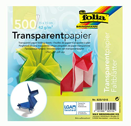 """Global Art Folia Origami di Carta 6""""X 6"""" Trasparente 500 Pkg-assortite"""