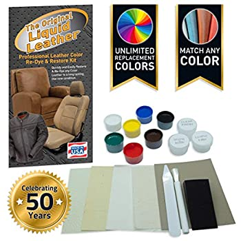 Liquid Leather Repair and Re-Color Kit for All Vinyl & Leather Restores to New Condition  Car Seats Boats Upholstery Sofas Chairs Leather Coats and More