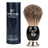 VIKINGS BLADE 'Dark Stallion' Luxury Shaving Brush, Heavy Steel Base + Obsidian Acrylic