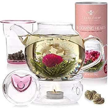 Teabloom Eternal Love Flowering Tea Gift Set - Glass Teapot  36 oz  Heart-Topped Lid Tea Warmer Loose Tea Infuser & 12 Heart-Shaped Blooming Teas