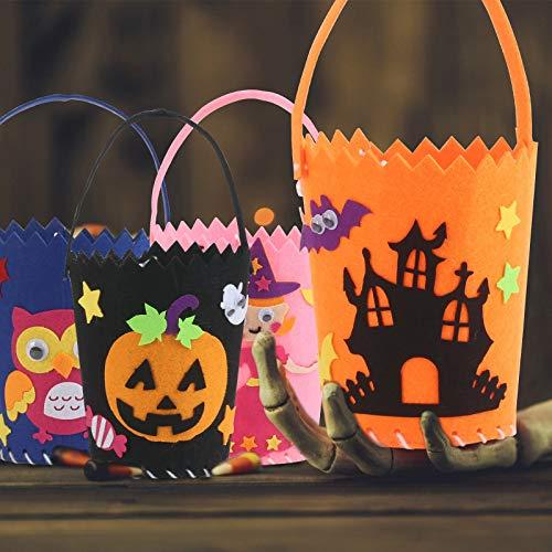 KATOOM 4 Pezzi Sacchetto di Caramelle di Halloween,Cestino di Caramelle in Feltro di Halloween Principessa Gufo Zucca Castello Caramella Biscotti Cioccolato Regalo di Halloween
