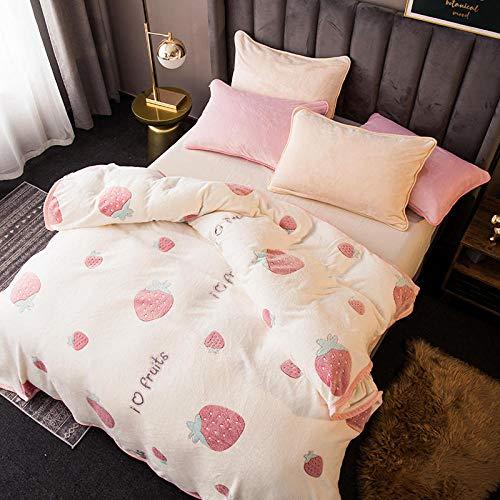 PengMu knuffeldeken, kreukbestendig/anti-verkleuring, versleutelde pluizige bol, pluizig roze, aardbei sofadeken of bedsprei