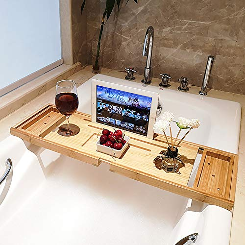 Bamboe-plank voor badkuipen, multifunctionele badkuip-lade, badbrug-opslag, badplanken met wijnglashouder en Ipad-boekenplank, tablethouder, badplanken (70-105 cm)