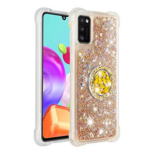 FAWUMAN Hülle für Samsung Galaxy A41 Diamant Ring Flüssig Treibsand Silikon TPU Bumper Hülle für Samsung Galaxy A41(Gold)