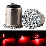 Qasim 10x LED 1157 BAY15D PY21W P21 / 5W Coche Bombillas Universales para Luz De Marcha Atrás Freno Luces de Reserva la Placa 2406 22SMD 176LM 1016 1034 24V Rojo