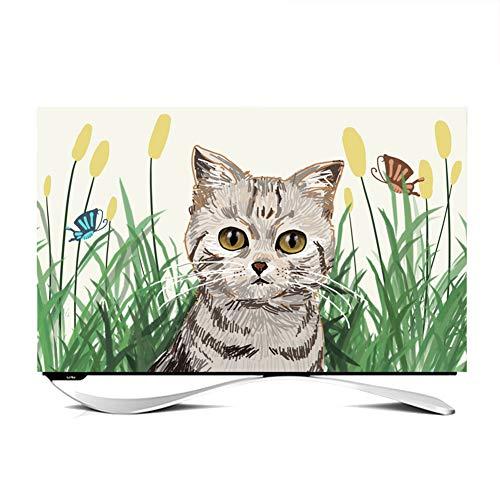 Cubierta De TV De 24-65 Pulgadas Cubierta De Polvo De TV, Estilo De Pintura Animales Encantadores Protector De Pantalla De TV LCD LED TV Forma Curva TV Cubierta A Prueba(Color:Cute Cat 2,Size:65inch)