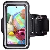 CoverKingz Sportarmband für Samsung Galaxy A51 - Armtasche mit Schlüsselfach Galaxy A51 - Sport Laufarmband Handy Armband Schwarz