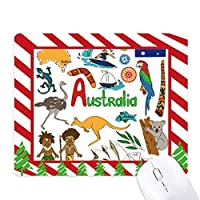 オーストラリアの景色の動物の国旗 ゴムクリスマスキャンディマウスパッド