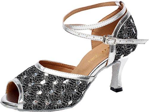 Professionelle Tanzschuhe für Damen, Lateinamerikanischer Salsa, Tango, Ballsaal, Kitten-Heels, Peep-Toe, Tanzschuhe, Silber - silber - Größe: 36 EU