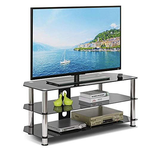 Leisure Zone Glass TV Stand Table Unit 100cm Corner TV Stand Cabinet with Tempered Glass Shelf for 32-60 Inch Plasma/LCD/LED/3D Black