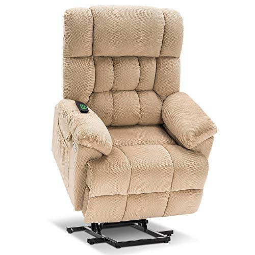 Mcombo Electric Power Lift Recliner Chair with Massage and Heat, Adjustable Headrest & Extended Footrest for Elderly People, 3 Positions, USB Ports, 2 Side Pockets, Plush Fabric 7533 (Beige)