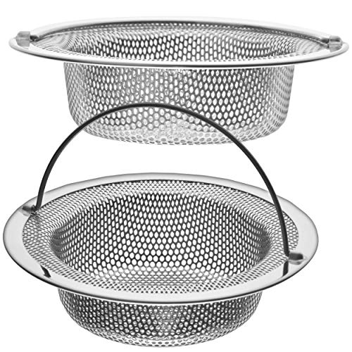 """2 Pack - 4.5"""" Top / 3"""" Basket - Kitchen Sink Drain Strainer Stainless Steel Large Basket Food Catcher with Handle. Fast Flow and Effective 2/16"""" Holes Louisiana"""