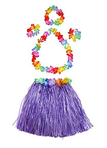 Fortuning's JDS Girl's Elastic Hawaiian Hula Dancer Grass Skirt with Flower Costume Set -Purple