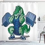 N\A Tier Duschvorhang, Cartoon Krokodil Sportlich muskulös männlich Alligator Villian Bilddruck, Stoff Stoff Badezimmer Dekor Set mit Haken, Jadegrün