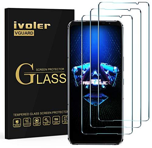 ivoler 3 Stücke Panzerglas Schutzfolie für Asus ROG Phone 5/5 Pro / 5 Ultimate / 5S / 5S Pro, 9H Festigkeit Panzerglasfolie, Anti-Kratzen Folie, Anti-Bläschen Bildschirmschutzfolie, Kritall-Klar Hartglas