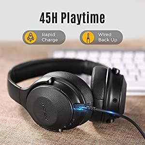 Mpow Active Noise Cancelling Headphones, H17 New Bluetooth Headphones Over Ear with 45H Playtime, Built-in Mic, Quick Charge, Wired/Wireless Headset for Travel, Online Class, Home Office, TV