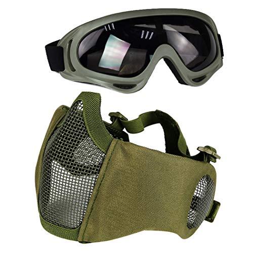 Aoutacc Airsoft Schutzausrüstung, Set mit Halbgesichtsmasken mit Ohrenschutz und Brille für CS/Jagd/Paintball/Shooting, grün