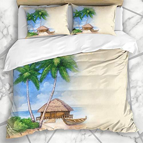 ZORMIEY Bettwäsche - Bettwäscheset Bungalow-Aloha-Aquarell-Tropische Strand-Park-künstlerische Bar-Boots-karibische Palme Mikrofaser weich dreiteilig Mit 2 Kissenbezügen 160 * 220