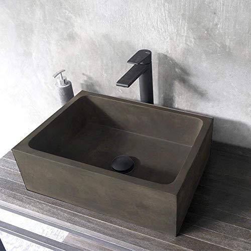 Magnus Home Products Edsall Rectangular Cast Concrete Vessel Bathroom Sink, Dusk Grey, 17 3/4' L x 12 3/4' W, 42.0 lb