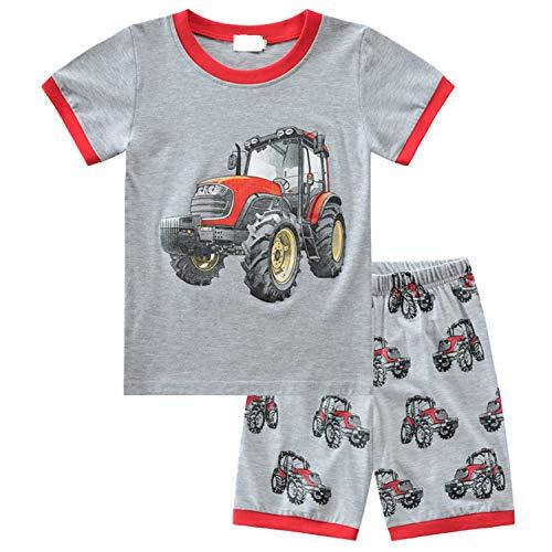 MIXIDON Pijama Corto para Niños Pequeños con Diseño de Dinosaurio y Tren de Algodón PJS, 2 Piezas, Ropa de Dormir para Niños de 1 a 10 Años