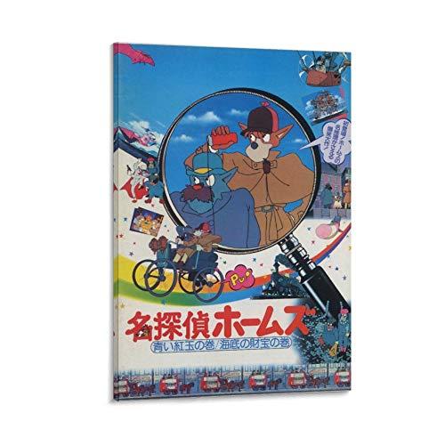 YANDING Póster de Sherlock Hound Detective Holmes Anime Póster y arte de pared, impresión moderna para decoración de dormitorio familiar, 50 x 75 cm