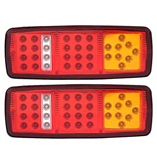 Qiilu - 1 par de luces LED traseras de 12 V, luces indicadoras LED universales para freno trasero trasero para remolque, camión, RV, furgoneta, caravana