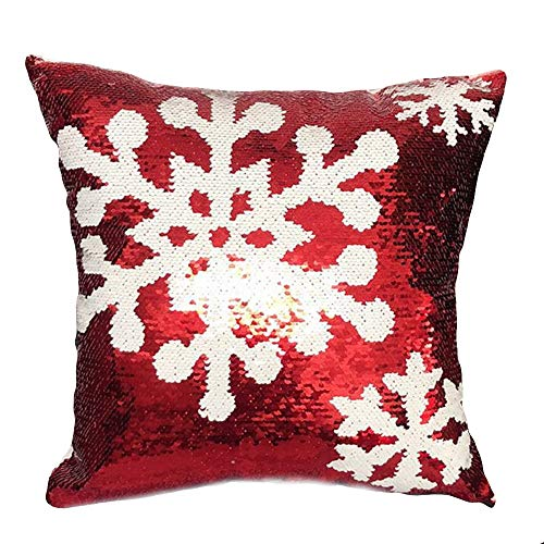 LLLCCC Christmas Luxurious Glitter Sequins Home Decorative Square Sparkling Pillowcase Cushion Cover for Party/Xmas, 18'x18'(45cmx45cm), Red(D)