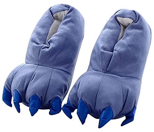Aivtalk - Zapatilla Adulto Unisex Para Casa Zapatos de Franela Cosplay Disfraces de Garras Animales Para Carnaval Halloween Talla EU 34-38 - Azul