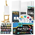 Complete Acrylic Paint Kit- 54 Piece Keff Creations Professional Artist Painting Supplies Set, Art Painting, 24 Acrylic Paint Tubes, Paintbrushes, Canvases and More-for Adults & Beginners