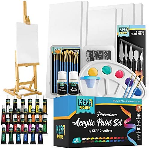 KEFF Creations Complete Acrylic Paint Kit 54 Piece Professional Artist Painting Supplies Set product image