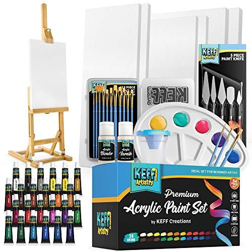 KEFF Creations Complete Acrylic Paint Kit- 54 Piece Professional Artist Painting Supplies Set, Art...