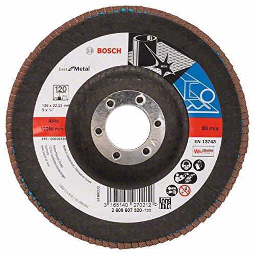 Bosch Professional Fächerschleifscheibe (für Winkelschleifer verschiedene Materialien, bombierte Ausführung, Ø 125 mm, Körnung 120)