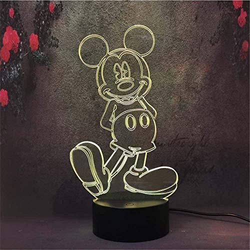 Luz nocturna 3D para niños, lámpara de ilusión 3D Mickey Mouse, cargador USB, juguetes bonitos, ideas de regalo de cumpleaños, vacaciones, Navidad para bebé