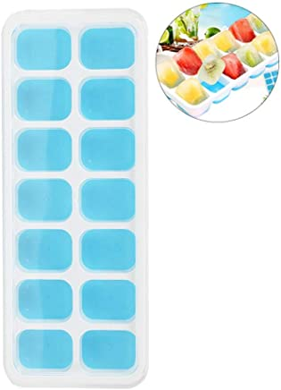 Ice Cube Tray, Womdee Silicone Ice Cube Molds Lfgb Certified BPA Free Ice Trays with Spill-Resistant Removable Lid Best for Freezer Baby Food Water Whiskey Cocktail and Other Drink