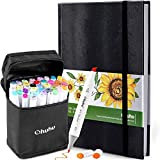 "Ohuhu 40 Colors Alcohol Art Markers (Fine & Chisel, Bonus 1 Colorless Blender) + 8.3"" ×11.7"" Marker Pads Art Sketchbook, 120LB/200GSM Heavy Smooth Drawing Papers, 78 Sheets/156 Pages"