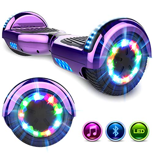 GeekMe Hoverboards 6.5 '' Self Balance Scooter Las Ruedas LED Luces, Scooter eléctrico con Bluetooth - Patinete Eléctrico 2 * 350W (Purple)