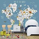 Papel pintado fotográfico personalizado con dibujos animados en 3D, mapamundi, imágenes de pared para habitación de niños y niñas en 3D, 150 x 105 cm