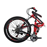 "26"" Full Suspension Mountain Bike 21 Speed Folding Bicycle Men or Women MTB (G6 Red)"