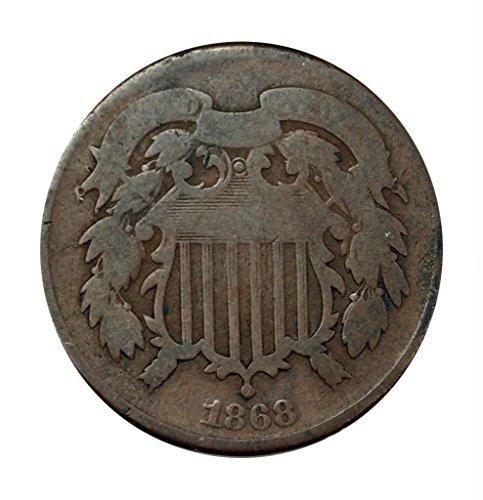 1868 No Mint Mark Two Cent Piece Circulated Civil War Era Coin...