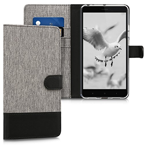 kwmobile Wallet Case for Xiaomi Mi Max 2 - Fabric and PU Leather Flip Cover with Card Slots and Stand - Grey/Black