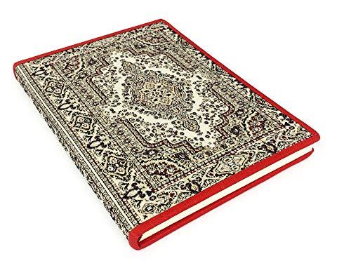 JUNCTION/D Stoff-liniertes Notizbuch mit orientalischer Teppich Muster Ivory & Gold